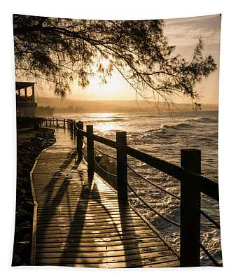 Sunset Over Ocean Walkway Tapestry