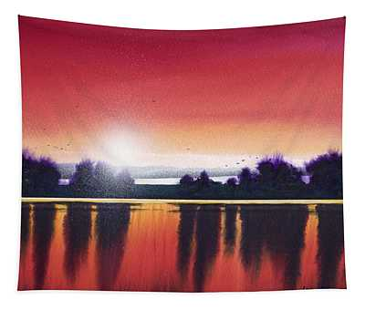 Sunset Over Two Lakes Tapestry