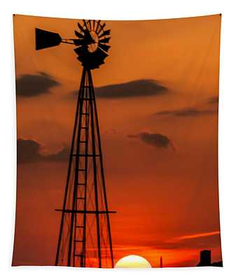 Sunset Windmill Tapestry