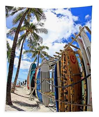 Surf And Sun Waikiki Tapestry