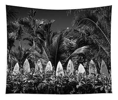 Tapestry featuring the photograph Surf Board Fence Maui Hawaii Black And White by Edward Fielding
