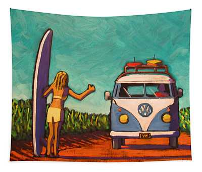Surfer Girl And Vw Bus Tapestry