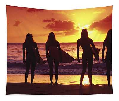 Surfer Girl Wall Tapestries