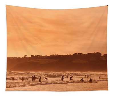 Surfers In Tramore Bay, County Tapestry
