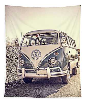 Surfer's Vintage Vw Samba Bus At The Beach Tapestry