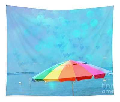 Surreal Blue Summer Beach Ocean Coastal Art - Beach Umbrella  Tapestry