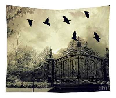 Surreal Gothic Spooky Haunting Gate With Ravens Tapestry
