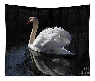 Swan With Reflection  Tapestry