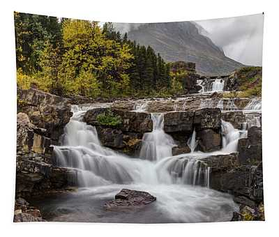 Swiftcurrent Falls In Autumn Tapestry