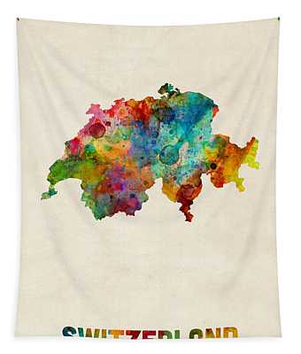 Switzerland Watercolor Map Tapestry