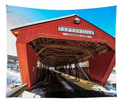Taftsville Covered Bridge In Vermont In Winter Tapestry
