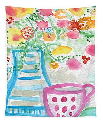 Tea And Fresh Flowers- Whimsical Floral Painting Tapestry