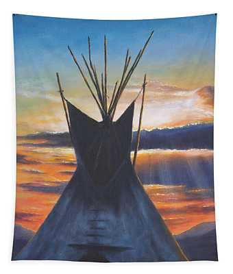 Teepee At Sunset Part 1 Tapestry