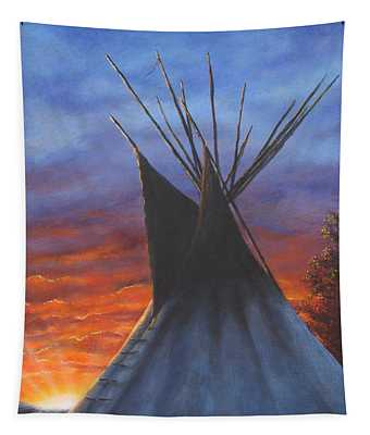 Teepee At Sunset Part 2 Tapestry