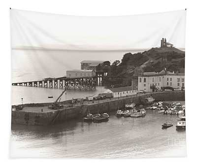 Tenby Harbour And Castle Hill Vignette Tapestry
