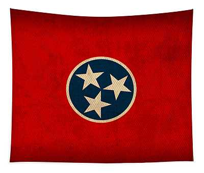 Tennessee State Flag Art On Worn Canvas Tapestry