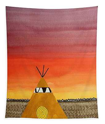 Tepee Or Not Tepee Original Painting Tapestry