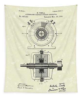 Tesla Generator 1891 Patent Art Tapestry