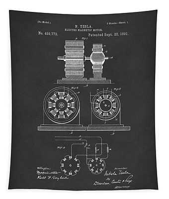 Tesla Motor Sept 1891 Patent Art Black Tapestry