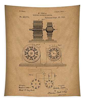 Tesla Motor Sept 1891 Patent Art Brown Tapestry