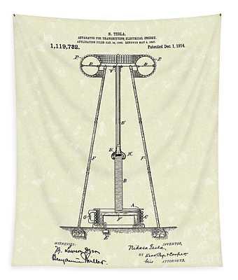 Tesla Transmitter 1914 Patent Art Tapestry