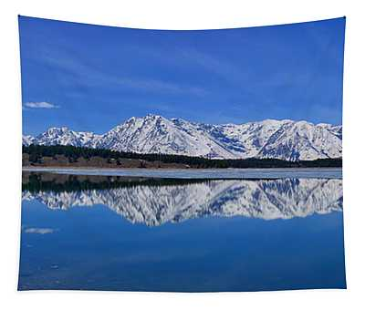 Teton End Of Winter Reflections Tapestry