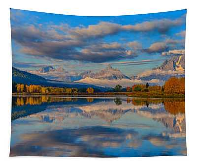 Teton Panoramic Reflections At Oxbow Bend Tapestry