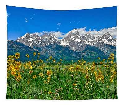 Teton Peaks And Flowers Tapestry