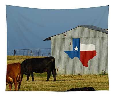 Texas Farm With Texas Logo Tapestry