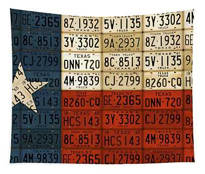 Texas Flag The Lone Star State License Plate Art Tapestry
