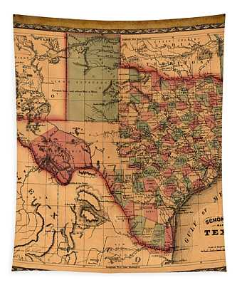 Texas Map Art - Vintage Antique Map Of Texas Tapestry
