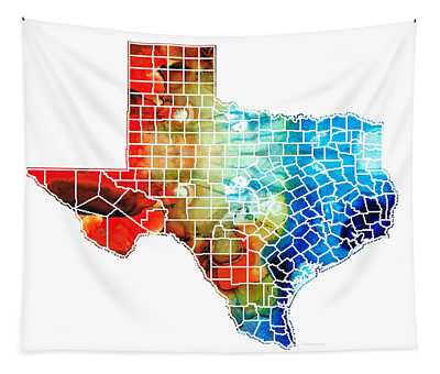 Texas Map - Counties By Sharon Cummings Tapestry
