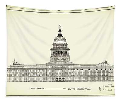Texas State Capitol Architectural Design Tapestry