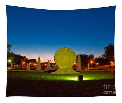 Tapestry featuring the photograph Texas Tech Seal At Night by Mae Wertz