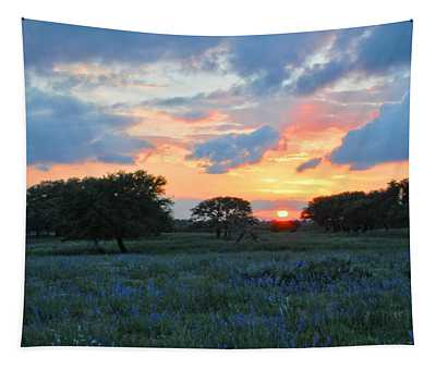 Texas Wildflower Sunset  Tapestry