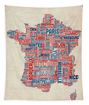 Text Map Of France Map Tapestry