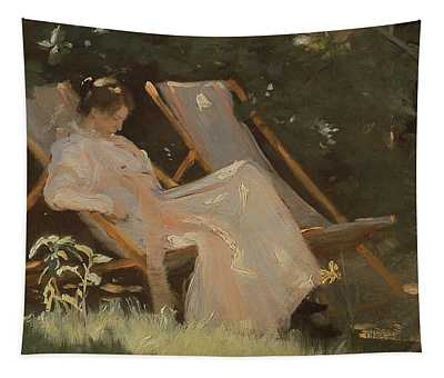The Artists Wife Sitting In A Garden Chair At Skagen, 1893 Tapestry