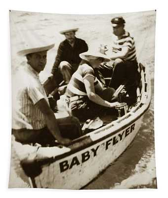 The Baby Flyer With Ed Ricketts And John Steinbeck  In Sea Of Cortez  1940 Tapestry