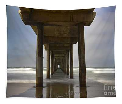 The Beauty Of Scripps Pier California Tapestry
