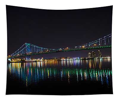 The Ben Franklin Bridge At Night Tapestry