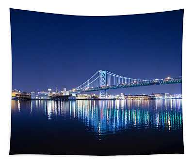 The Benjamin Franklin Bridge At Night Tapestry