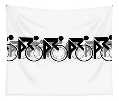 The Bicycle Race 2 White Tapestry