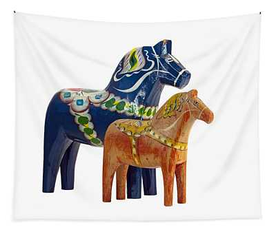The Blue And Red Dala Horse Tapestry