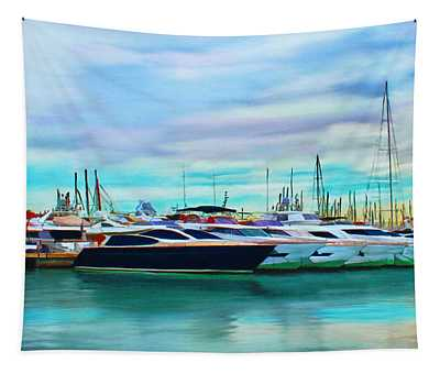 The Boats Of Malaga Spain Tapestry