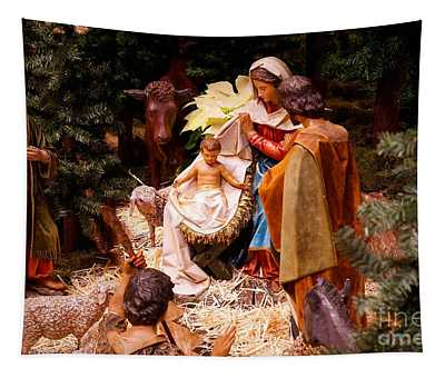 The Christmas Creche At Holy Name Cathedral - Chicago Tapestry