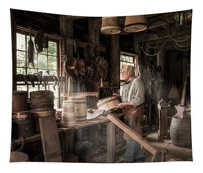 The Cooper - 19th Century Artisan In His Workshop  Tapestry