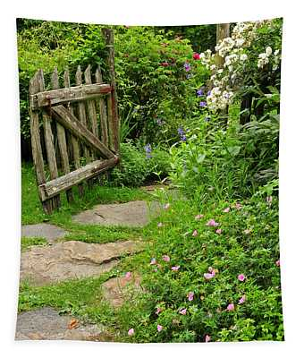 Enchanted Cottage Garden Path Tapestry