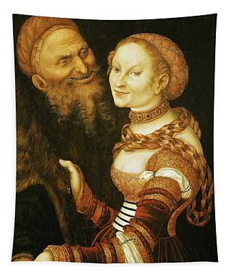 The Courtesan And The Old Man, C.1530 Oil On Canvas Tapestry