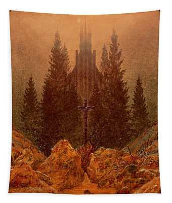 The Cross In The Mountains Tapestry