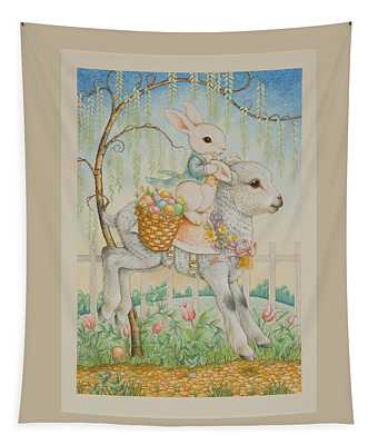 The Easter Bunny Is Coming To Town Tapestry
